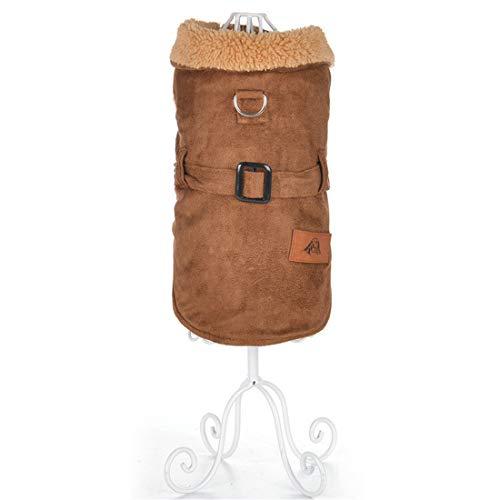PZSSXDZW Pet Kleidung Winter Lederjacke Hundebekleidung Pet Kleidung Warm bleiben Kleidung für Hunde Brown Large