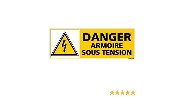 Adh/ésif Autocollant Sticker Dimensions 210 x 75 mm Danger Armoire Sous Tension