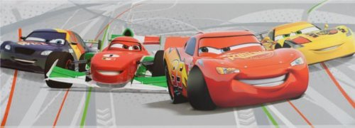 Wandtapete Bordüre Disney Cars 2 WGP - Grau - DF42464 - 15cm Selbstklebend