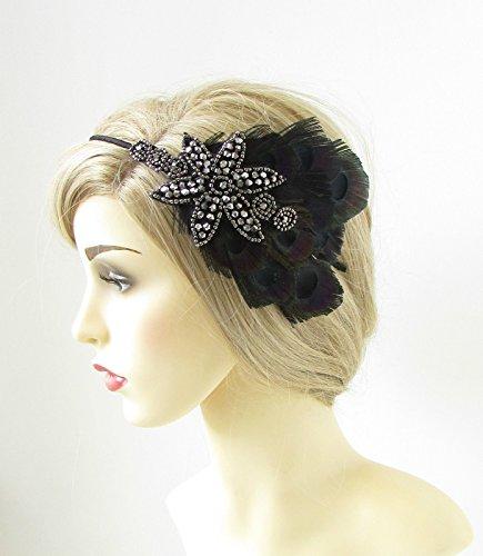 Noir plume de paon bandeau Anthracite ANNÉES 1920 Flapper Gatsby 174 * * * * * * * * exclusivement vendu par – Beauté * * * * * * * *