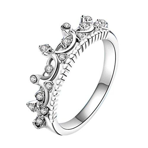 (Ausverkauf. Damen Mädchen Ehering Verlobungsring Braut Ringe Mingfa 2018Pretty Princess Krone Kristall Diamant Band Ringe Schmuck, Legierung, Silberfarben, 6)