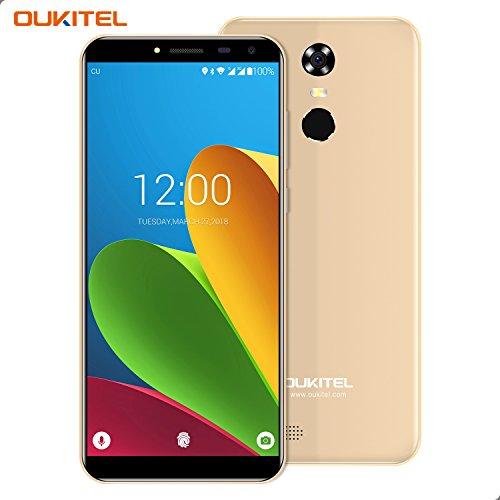 Smartphone Ohne Vertrag, Oukitel C8 3G Dual Sim Handy 5.5 Zoll (18:9 Display) Android 7 3000mAh Akku 16GB Interner Speicher 2GB RAM 13MP Kamera Handy mit Fingerabdruck-Gold