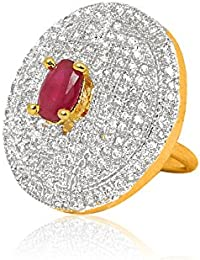 Handluv Splendid Gold Plated With Ruby Free Size American Diamond Ring For Women.