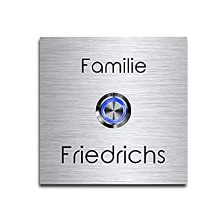 Edelstahl Klingelschild mit Gravur und LED Taster | Türklingel/Klingel(8x8 cm)