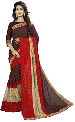 Vedant Vastram Women's Georgette Embroidered Saree With Blouse Piece (Brown & Red...