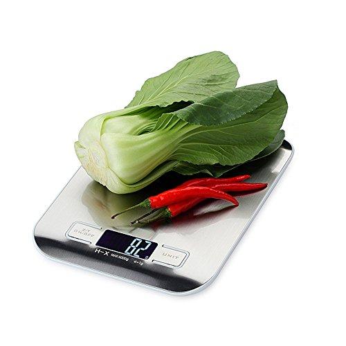 MAX 5000g Elektronische Küchenwaage mit gebürstetem Silberpaneel und LCD-Display (2 Batterien im Lieferumfang enthalten)