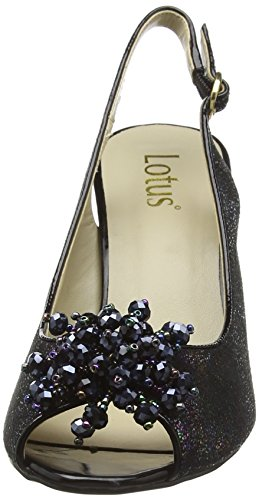 Lotus - Clematis, Decolleté aperte sul retro con tacco Donna Nero (Black (Blk Multi))