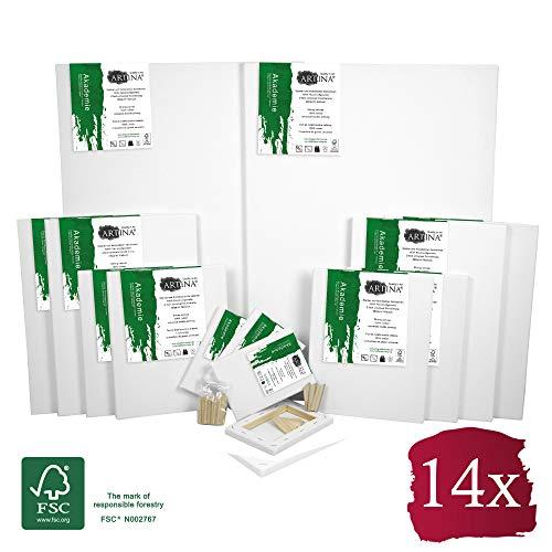 Artina FSC® Keilrahmen 14er Set Akademie - 50x70, 30x40 cm, 24x30, 13x18 cm Leinwand Set - 100{de523601de63041d13b8a283dda1d1416309211891ae4132503c2a61bb0f6c24} Baumwolle 280g/m²