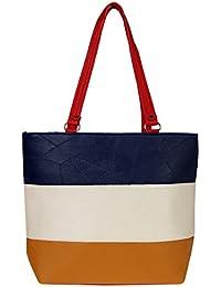 Zapatoz Women's Plain Multicolor Leatherite Tote Bag (Tote-H-Blue-wht-Yellow)