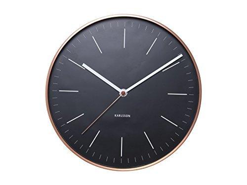 Karlsson KA5507BK - Wanduhr - Uhr - MINIMAL - schwarz/Kupfer - Ø 27,5 cm