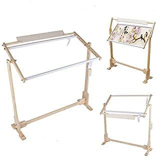 Cross Stitch Frame Stand, 32CT Cross Stitch Frame Floor Stand Wooden Embroidery Tapestry Hoops 100cm