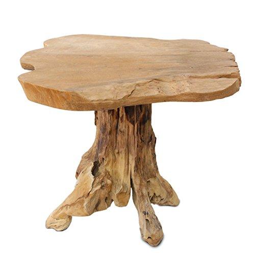 floristikvergleich.de Gartentisch Blumentisch Tisch Hocker Beistelltisch Blumenhocker Massiv Unikat Natur Teakholz H123