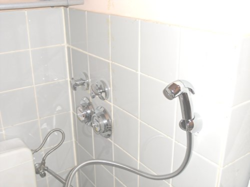 Handbrause für Intimdusche - Bidet mit Wandhalterung - Anschluss an WC-Wassertank