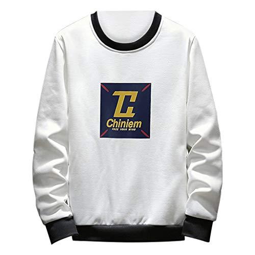 Xmiral Herren Top Sweatshirt Langarm Hemdkragen Persönlichkeit Brief gedruckt Pullover Bluse(XL,Weiß 1)