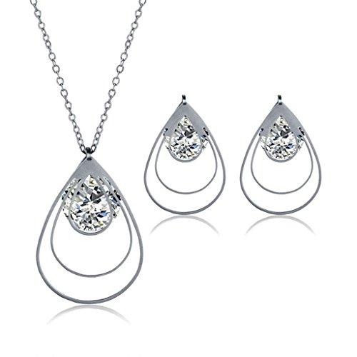 BeyDoDo Modeschmuck Edelstahl Ohrringe Halskette mit Anhänger Damen Hohl Wassertropfen Zirkonia Schmuck Set Silber