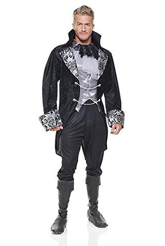 Vampir Graf Halloween Kostüm Gr. Herren: XL, schwarz/silber (Charades Halloween Kostüme)