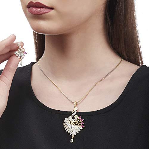 Zeneme Peacock Desing American Diamond Gold Plated Pendant Set with Earring for Girls/Women ...