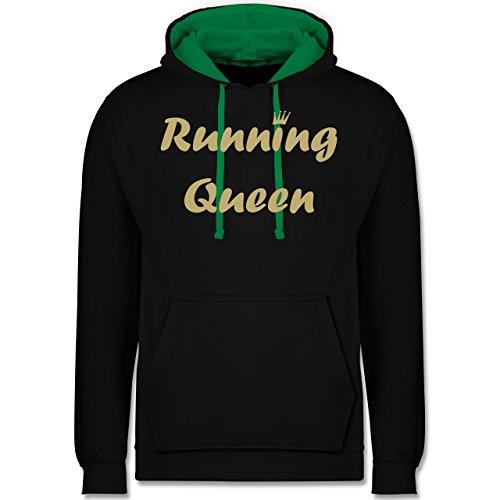 Laufsport - Running Queen - Kontrast Hoodie Schwarz/Grün