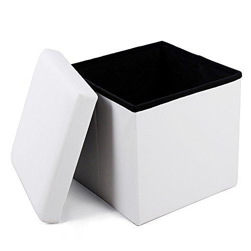 Songmics LSF103 Faltbarer Sitzhocker Belastbar bis 300 kg, Lederimitat, weiß, 38 x 38 x 38 cm