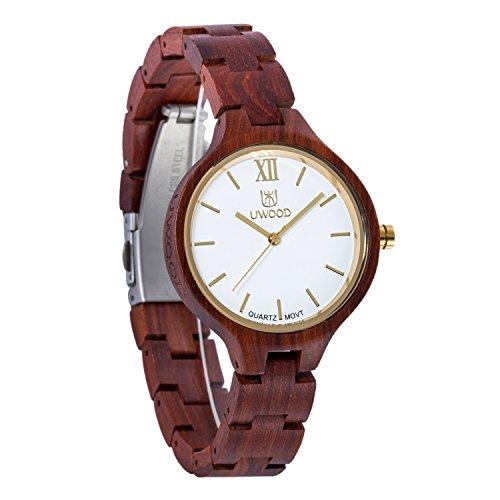 uwood al legno di sandalo rosso orologio da donna Japan Movement legno orologio in legno di qualità con scatola