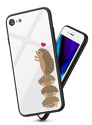 Alsoar ersatz für iPhone 6 Plus Hülle Transparent Case Durchsichtig Antikratz Schutzhülle,Gehärtetem Glas Rückseite mit Soft Silikon Rahmen Tier Süß Shell für iPhone 6s Plus (Igel) -