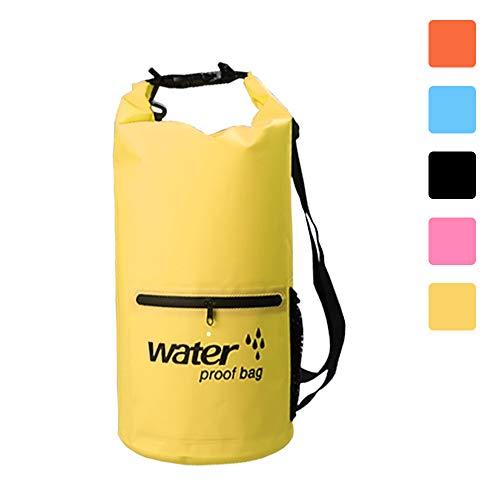 Dry Bag, 10L/20LLeicht Wasserdichte Packsäcke,Wasserdichte Tasche/Trockensack mit 2 Außentasche mit Reißverschluss und lang Verstellbarer Schultergurt für Boot und Kajak Wassersport (yellow, 10L) -