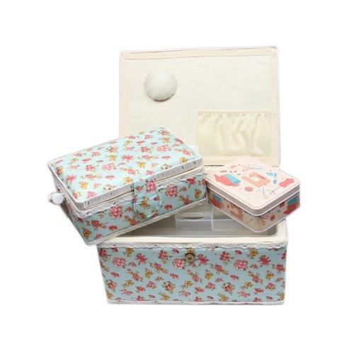 Nähkorb-Set mit Tragegriff (1x groß und 1x mittel) + 1x kleine Accessoires-Box aus Metall (mit Zubehör), Marke ACKERMANN ; Nähkorb Nähschatulle Nähkästchen Nähkasten Nähbox Nähkörbchen (Blumenmuster (rot))