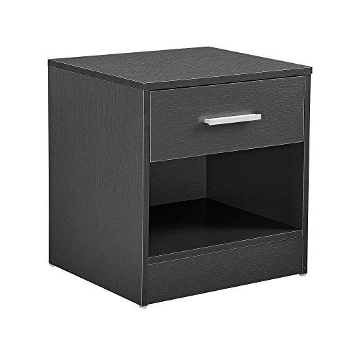 [en.casa]® Mesilla de noche elegante gris moderna 1 cajón & 1 balda...