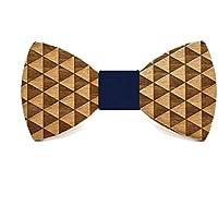 Noeud papillon en bois Cliff. Collection de mode homme: Cravate faite à la main. Ligne mariage et cérémonie. Cadeau original et élégant. Boucle élastique réglable. Bleu (dix couleurs à choisir)