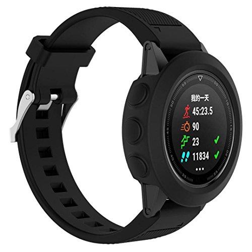 erthome Schutzhülle für Garmin Fenix 5, Ersatz-Silikon-dünne Uhr-Kasten-Abdeckung für Garmin Fenix 5 GPS-Uhr, Ersatzkoffer (Schwarz)
