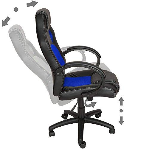 TecTake Sportsitz Chefsessel Stuhl Bürostuhl Racing Schalensitz – diverse Farben – (Blau) - 4