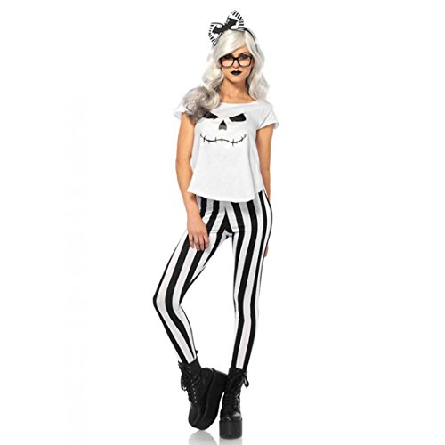 Leg Avenue Damen Kostüm Hipster Skelett schwarz weiß (Frauen Skelett Kostüme Sexy)