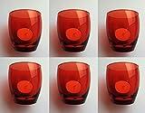 Edles Design Tischlicht von GlasGo, 6er Set rot, incl. Teelichtern (Kerzen), ideal für den festlichen Tisch an Ostern, Weihnachten u.V.m.