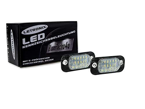 LETRONIX SMD LED Kennzeichenbeleuchtung Module Golf 3 / Golf 3 Cabrio/Polo 3 Typ 6N / Polo 3 Typ 6N2 / Polo Classic/Polo Variant/Ibiza 2 Typ 6K / Cordoba 2 Typ 6K & 6C mit E-Prüfzeichen