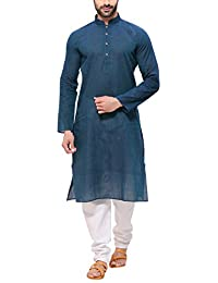 RG Designers Men's Handloom Green Blue Kurta Pyjama