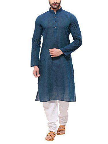 Rg Designers Men's Cotton Kurta Pyjama Set (HandloomGreenBlueKurta44_Blue_XX-Large)
