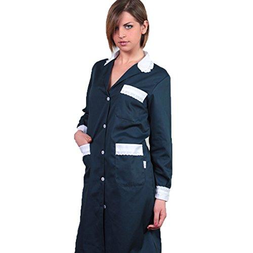 Camice donna cameriera lavoro pulizie casacca cotone camera domestica casa (42, blu)