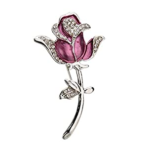 Aisoway Unisex Rose Brosche Vintage-Kristallblumen-Kragen-Pins Kleidung Dekor Brosche