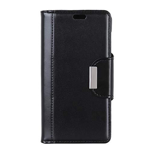 LMFULM® Hülle für Alcatel A7 5090Y (5,5 Zoll) PU Leder Magnet Brieftasche Lederhülle Perlglanz Muster Stent-Funktion Schutzhülle Flip Cover für Alcatel A7 Schwarz