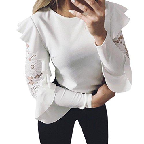 MCYs Damen Spitzen Bluse Shirt Loose T-Shirts Lace Langarm Oberteil Tops Tunika Feste Hülsen Nähende Oansatz T-Shirt Pullover-Oberseiten-Bluse (S, Weiß)