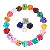 WANDIC - Fiori di Rosa in Feltro, 24 Pezzi, Colori Assortiti per Artigianato, Fasce per Capelli, Vestiti, Accessori per Capelli