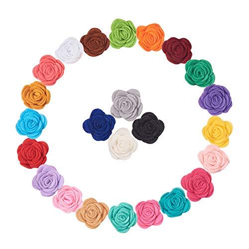 WANDIC Filz Rose Blumen, 24 Stück Selbstklebende Filz Stoff Blumen für Ornamente, Handarbeiten, Stirnband, Kleidung,Haarschmuck -