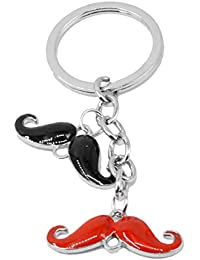 Faynci Stainless Steel Black & Red Mustache Key Chain