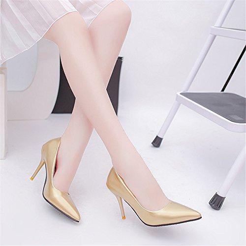 TMKOO La nouvelle boîte de nuit sexy haute avec des chaussures simples fines avec la bouche peu profonde a des chaussures à talons hauts modèles d'explosion Gold