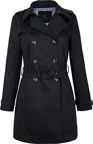 F03 Damen Trenchcoat Kurzmantel 'Camille' (40, schwarz)