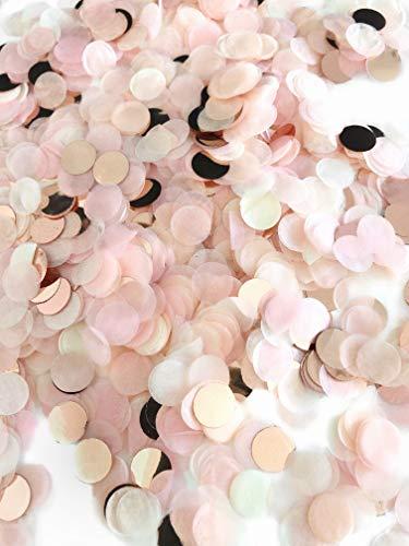 Konfetti rosegold mehrfarbig, 1cm rund, 10g, 1000 Stück – elegante und moderne Partydeko – Geburtstag, Hochzeit, Baby-shower, Silvester