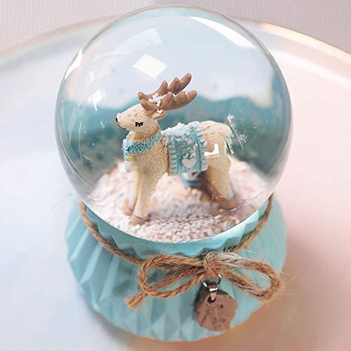 ACOMG Kristallkugel Spieluhr, rotierende Spieluhr Schneespieluhr mit 7 Farben Licht, einzigartiges handgemachtes Geschenk für Freundinnen, mit Musik von 8 Stücken,A