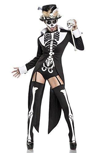 Damen Voodoo Priesterin Fantasy Kostüm Skelett Verkleidung aus Frack, Body, Zylinder und Strümpfe Zepter in weiß schwarz Totenkopf Knochen XL