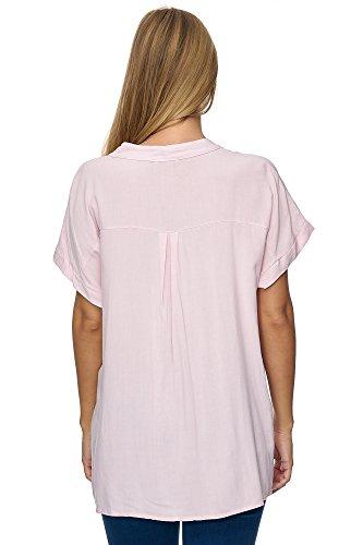 Jillymode Elegante Damen Tunika Rundkragen einfarbig Arm Aufschlag A1007 A1092-Rosa