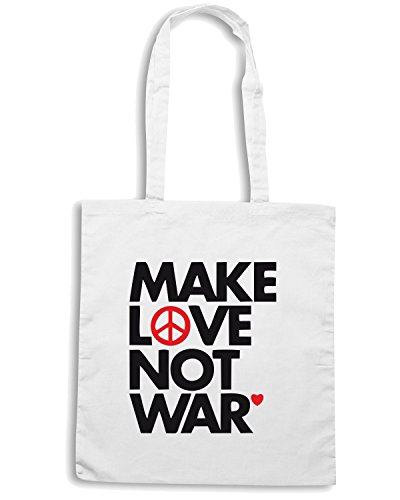 T-Shirtshock - Borsa Shopping TM0473 make love no war Bianco